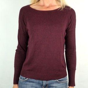 LOFT Back Button Solid Plum Sweater